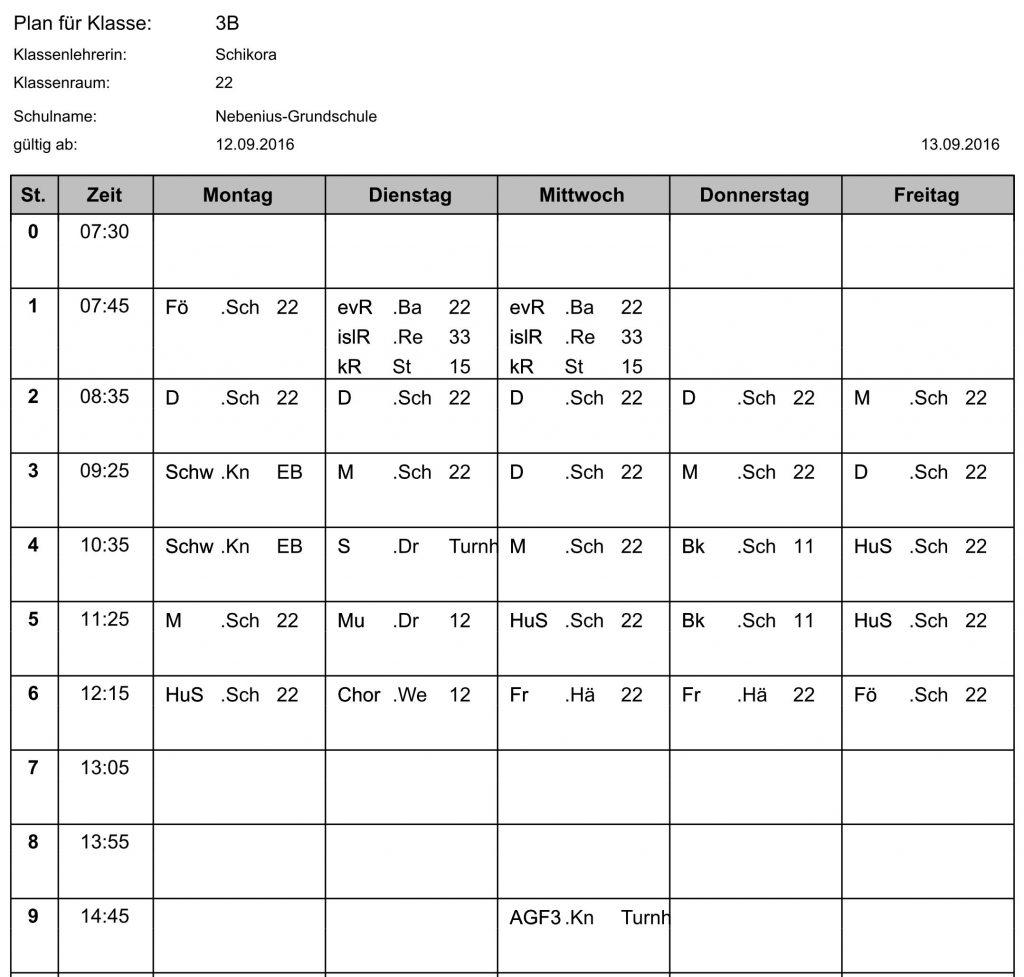 Stundenplan Klasse 3b