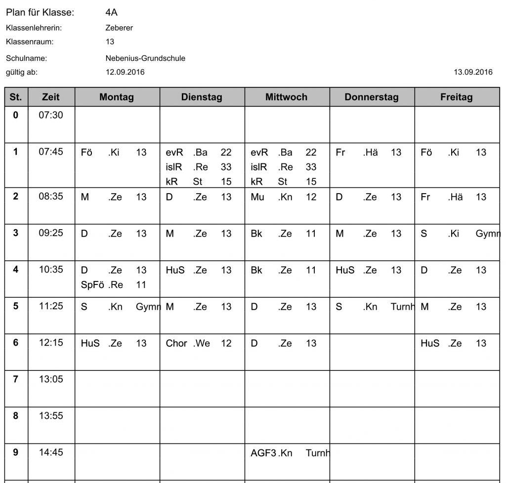 Stundenplan Klasse 4a