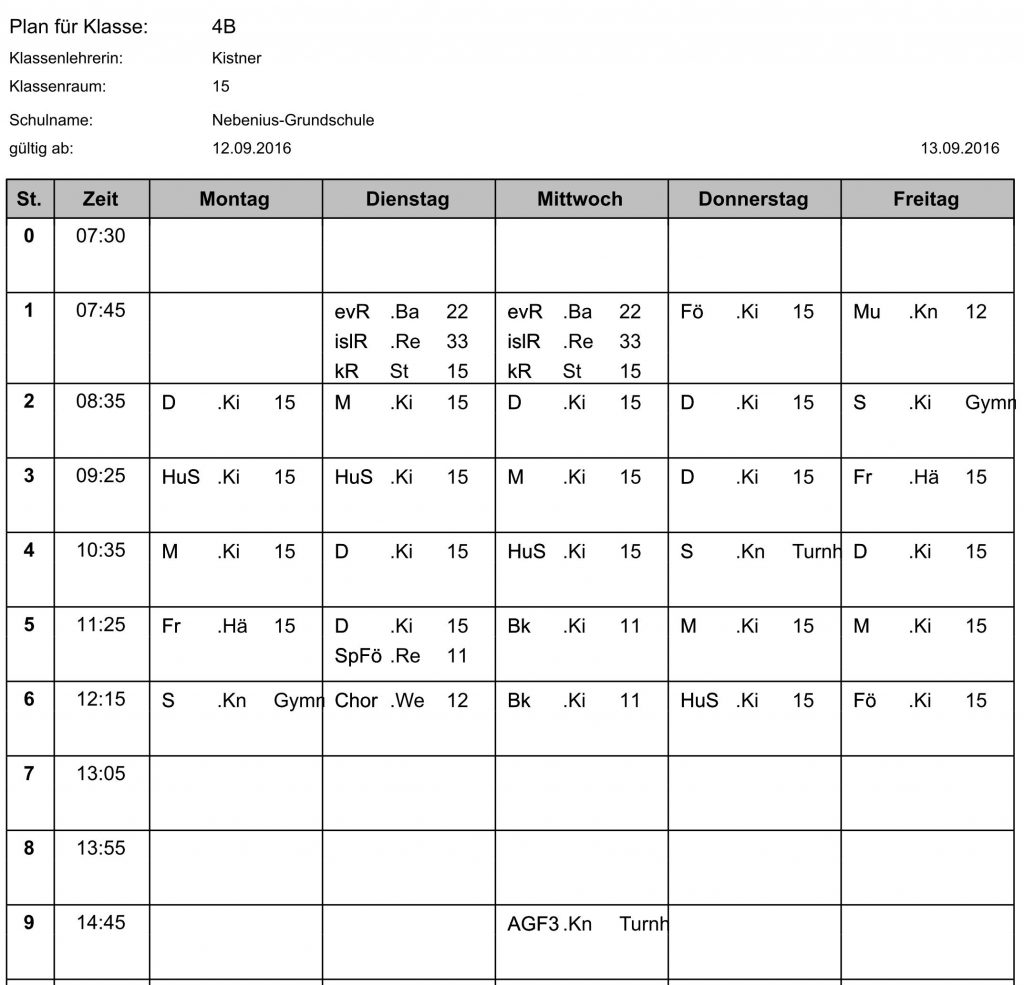 Stundenplan Klasse 4b